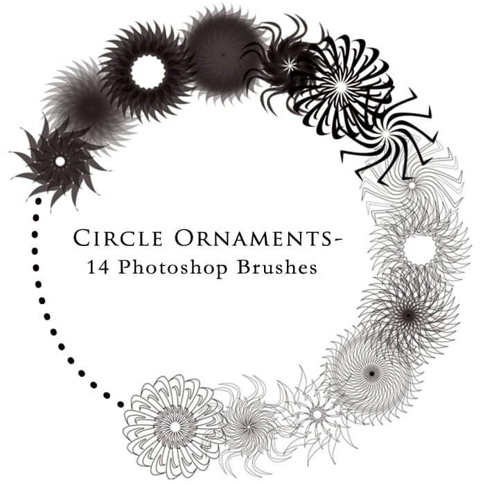 14种有趣的旋转对称式花纹图案Photoshop笔刷素材下载