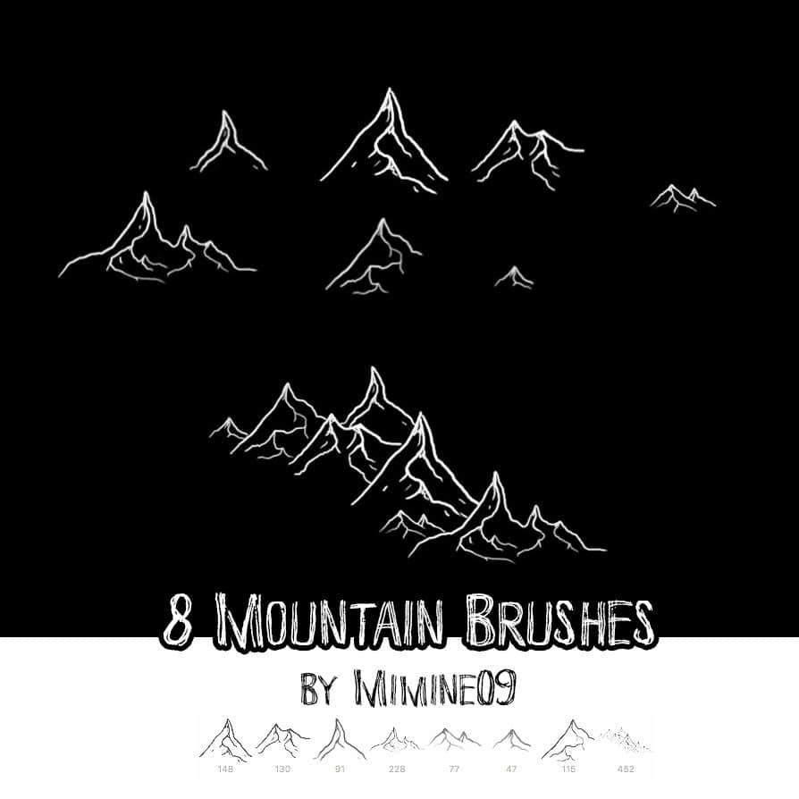 8个手绘涂鸦山脉、大山Photoshop笔刷素材