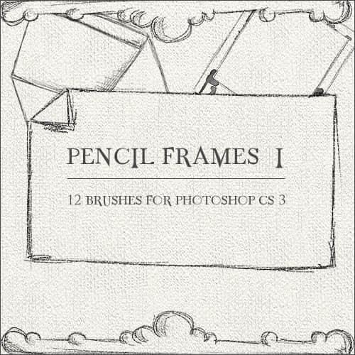 蜡笔、铅笔绘画、粉笔笔触风格式涂鸦边框、纸张、信封Photoshop笔刷素材
