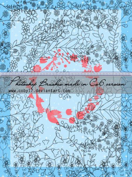 漂亮的手绘植物花草图案、童趣鲜花花纹PS笔刷素材