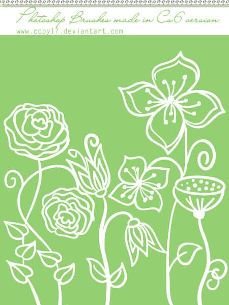 手绘精美的鲜花花朵图案Photoshop印花图案笔刷