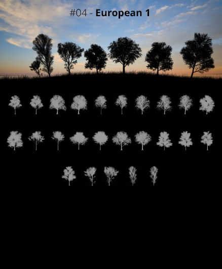 25种茂密的大树剪影、森林中的大树阴影PS笔刷素材 树木剪影笔刷 大树阴影笔刷 大树剪影笔刷  plants brushes