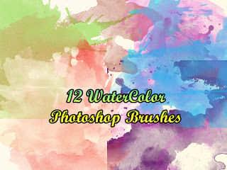 12种水彩喷溅效果PS素材笔刷免费下载