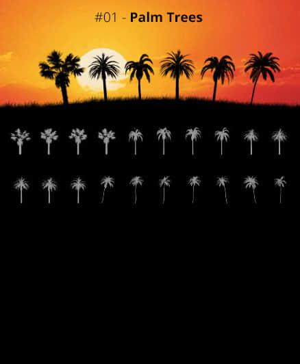 海边海岛上棕榈树、椰子树、大树剪影图案Photoshop笔刷素材下载
