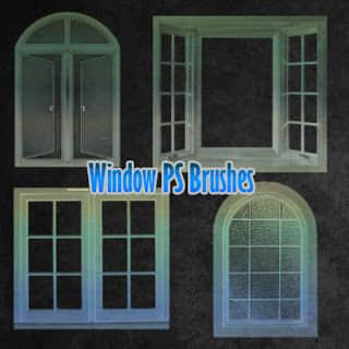 现代玻璃窗窗户PS建筑笔刷