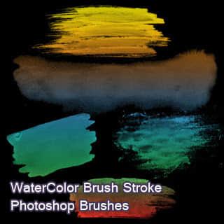 水彩痕迹Photoshop画笔素材免费下载