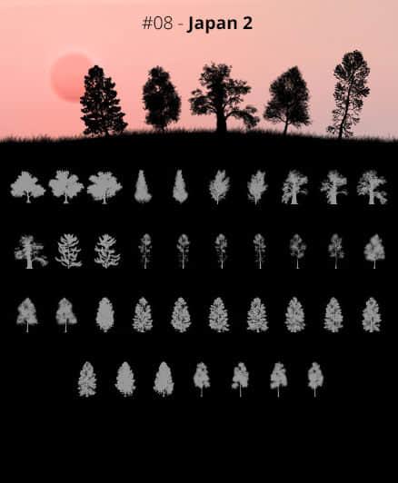 37种草原大树、树木剪影、大树阴影、树荫Photoshop非洲丛林笔刷素材