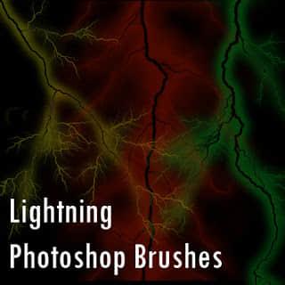 闪电、雷电特效Photoshop笔刷素材 雷电笔刷 恐怖闪电笔刷  lightning brushes