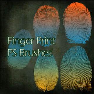 手指指纹、指纹图案、指模Photoshop笔刷素材 指纹笔刷  characters brushes