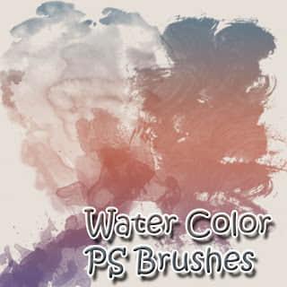 水彩颜料笔触效果Photoshop笔刷素材下载 水彩笔刷  photoshop brush