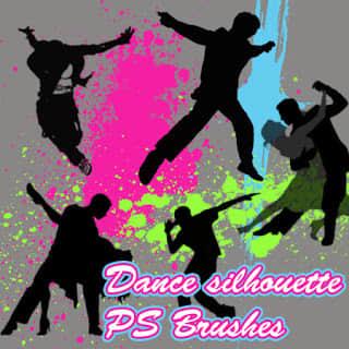 跳舞人生、舞者剪影图形Photoshop人物轮廓笔刷 舞者笔刷 剪影笔刷 人物轮廓笔刷  characters brushes