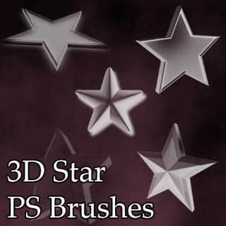 3D五角星、星星图案Photoshop笔刷素材 星星笔刷 五角星笔刷  symbols brushes