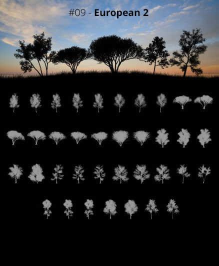 非洲大草原上的树木、大树阴影树荫剪影图形Photoshop笔刷素材