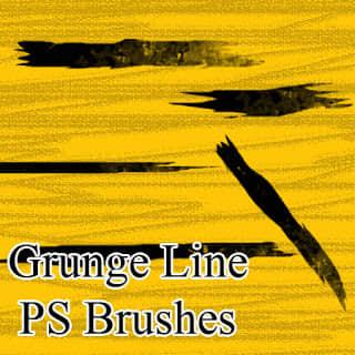毛笔油漆刷子涂痕效果Photoshop笔刷素材下载