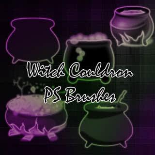 女巫的坩埚、魔法锅、古欧洲锅子PS笔刷素材下载