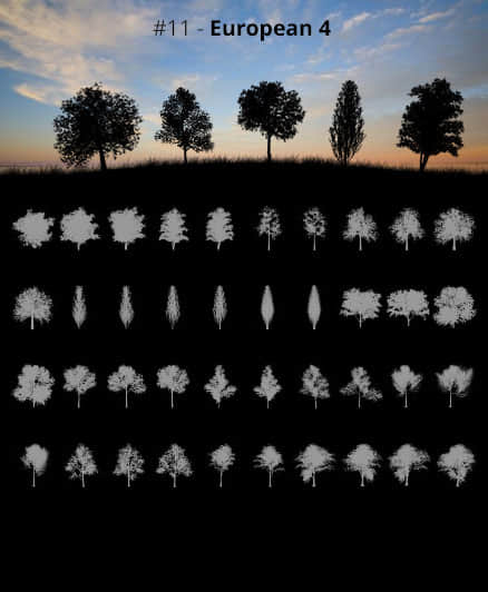 40种大树剪影、树木阴影、树荫效果PS笔刷免费下载
