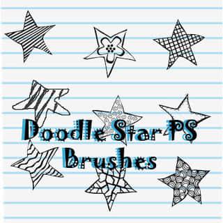童趣手绘星星图案、呆萌五角星Photoshop免费素材笔刷下载