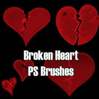 碎裂的爱心、心碎的心形图案Photoshop笔刷素材下载