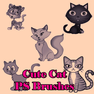 可爱卡通小猫咪图案PS笔刷素材 猫咪笔刷 卡通猫笔刷  %e5%8d%a1%e9%80%9a%e7%ac%94%e5%88%b7