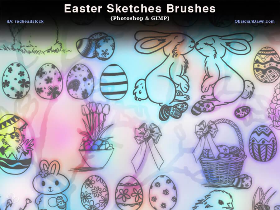 复活节彩蛋、与卡通兔子Photoshop笔刷素材下载