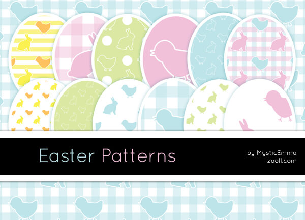 可爱小鸟、小鸡与兔子卡通图案Photoshop填充图案文件底纹素材 .pat 下载
