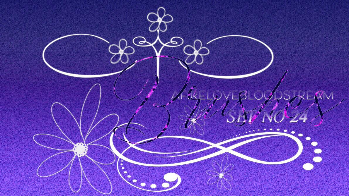 漂亮的艺术线条花纹、优雅植物印花图案Photoshop笔刷素材下载