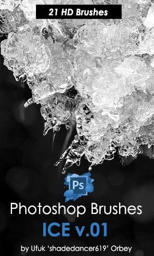 21种结冰、冰冻、结晶、冰的半融合状态PS笔刷素材 结冰笔刷 冰晶笔刷 冰冻笔刷  water brushes