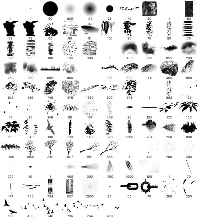 106种数字艺术创作的概念艺术画笔PS笔刷素材 数字艺术绘画笔刷 插画笔刷 CG笔刷  photoshop brush
