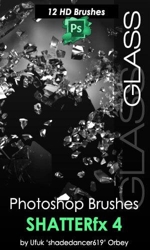 玻璃粉碎效果、玻璃渣、碎片破碎PS笔刷素材下载