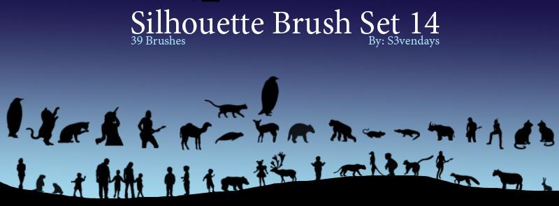 原始社会动物、土著、猩猩、豹子、鹿等剪影图案PS笔刷素材