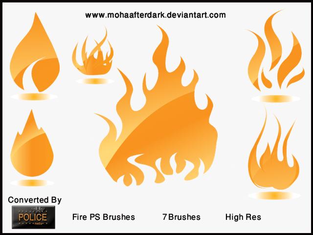 可爱手绘卡通火焰造型效果Photoshop笔刷素材下载