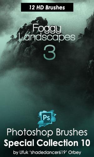 模糊朦胧的山水风景背景图案PS笔刷素材下载