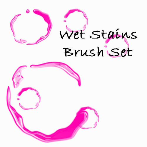 水渍、圈形液体痕迹效果PS液体笔刷素材 液体痕迹笔刷 水渍笔刷  water brushes