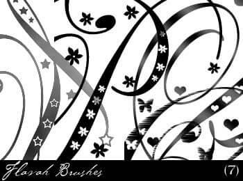 漩涡线条涂鸦花纹图案PS笔刷素材