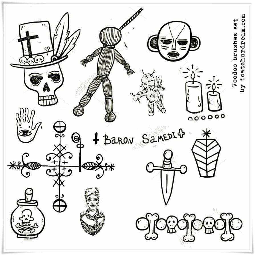 可爱骷髅头、稻草人、巫师巫女诅咒道具元素PS卡通图形笔刷素材