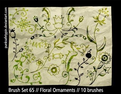 漂亮的艺术植物花纹图案、美丽艺术印花PS笔刷素材下载 艺术花纹笔刷 植物花纹笔刷 印花笔刷  flowers brushes