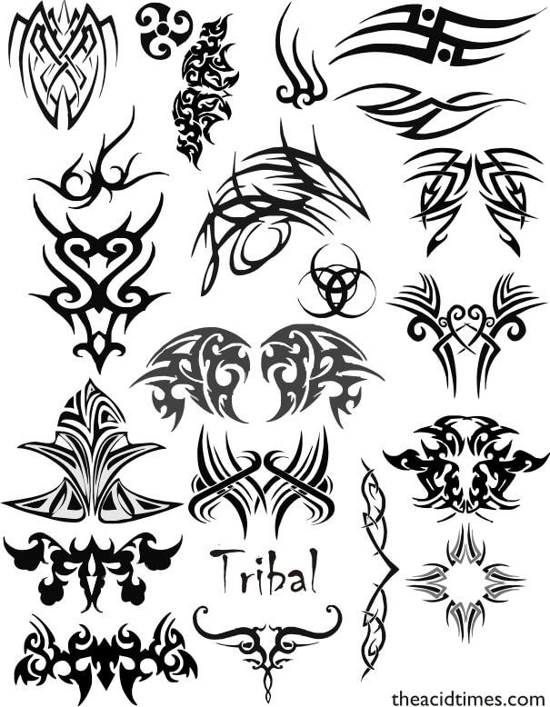 酷炫吊炸天的欧式纹饰、纹身、刺青图案PS笔刷素材 纹饰笔刷 纹身笔刷 刺青笔刷  adornment brushes