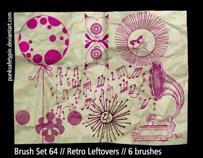 手绘音符、留声机、气球、太阳等图案Photoshop笔刷素材下载