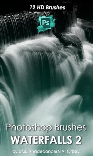 12种高清瀑布效果Photoshop水效果笔刷 高清笔刷 瀑布笔刷  water brushes