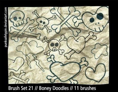 可爱的骷髅头爱心图案PS笔刷素材下载