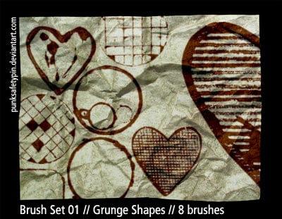 涂鸦爱心、格子图案Photoshop笔刷素材下载