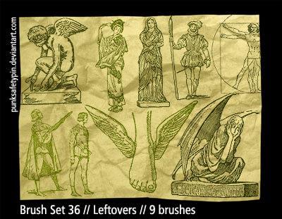古希腊雕塑图案、古罗马元素Photoshop笔刷素材