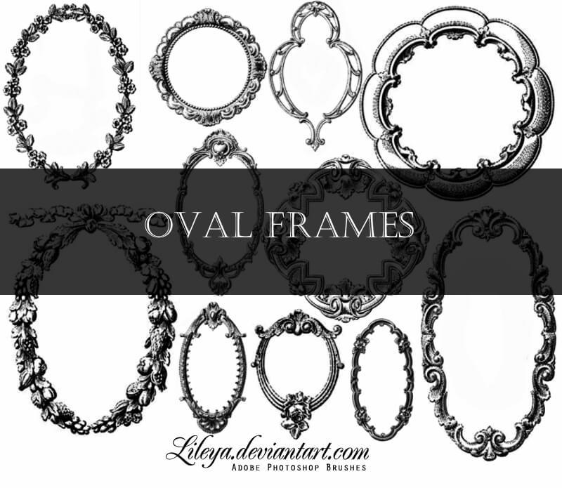 椭圆形镜架、画框、精美手绘边框图案PS笔刷素材