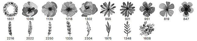 18种水彩是手绘花朵、鲜花、叶子PS笔刷素材下载