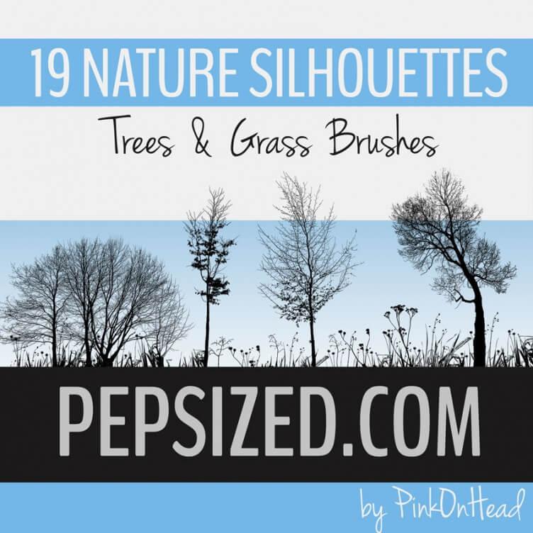 19种树木、大树剪影、草丛、草木轮廓PS笔刷下载 草丛笔刷 树木剪影笔刷 大树剪影笔刷  plants brushes