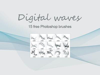 15种免费的变化曲线、科技背景装饰PS笔刷素材下载