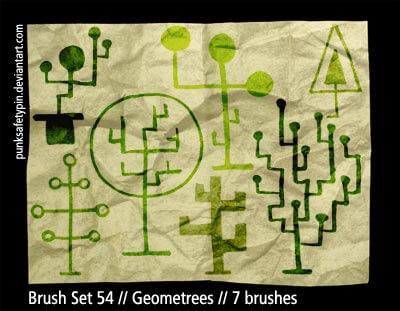 手绘抽象式树木植物造型Photoshop童趣涂鸦大树笔刷