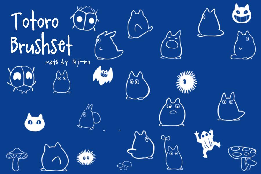 可爱卡哇伊手绘瓢虫、青蛙、幽灵、龙猫、魔鬼、小恶魔造型Photoshop卡通笔刷