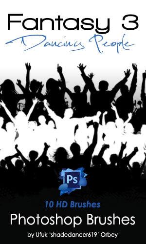 舞动的人像剪影、跳舞的轮廓造型PS笔刷下载