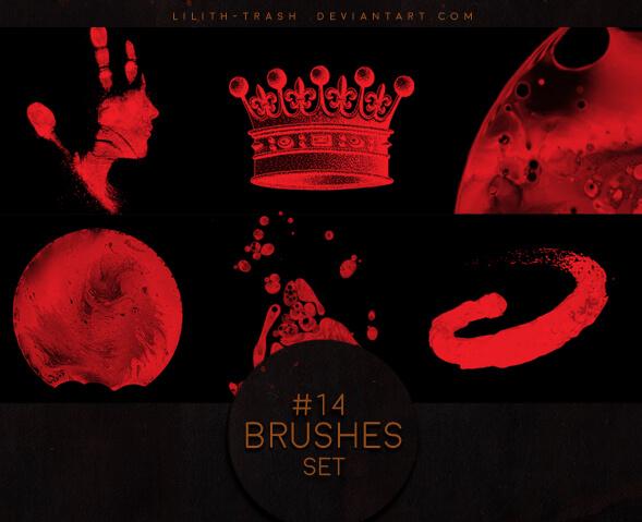 皇冠、手印头像、月球等Photoshop装饰笔刷